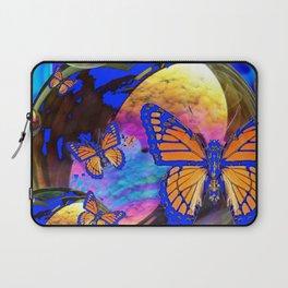 SURREAL BLUE  MONARCH BUTTERFLIES & IRIDESCENT BUBBLES  ART Laptop Sleeve
