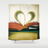 read Shower Curtains featuring Read by Lawson Images