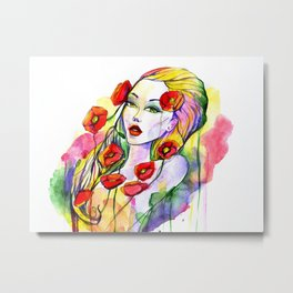 Waterolor beautful girl Metal Print