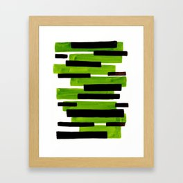 Lime Green Primitive Stripes Mid Century Modern Minimalist Watercolor Gouache Painting Colorful Stri Framed Art Print