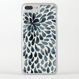 Blue & Black Abstract Tear Drops Clear iPhone Case