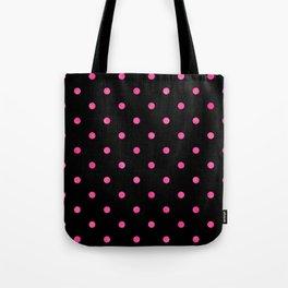 Yummy Hot Pink Dot Pattern on Black Tote Bag