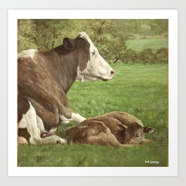 cow and calf in field Art Print