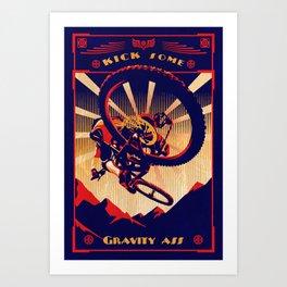 retro mountain bike poster: kick some gravity ass Art Print