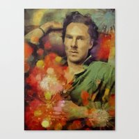 benedict cumberbatch Canvas Prints featuring benedict cumberbatch by janice maclellan