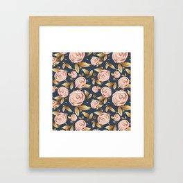 Pink and Gold Spring Floral Framed Art Print