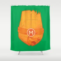 ninja turtle Shower Curtains featuring Michelangelo Turtle  by Salina Ayala