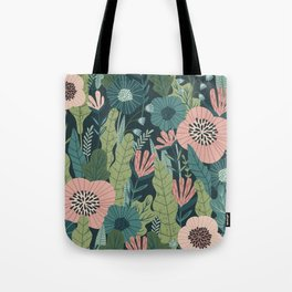 Lush Colourful Floral Green Jungle Pattern Tote Bag