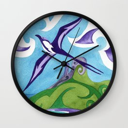 Polynesian frigate bird and hammerhead sharks Wall Clock