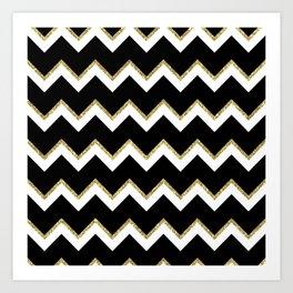 Black Gold White Chevron Pattern Art Print
