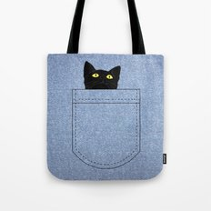 pocket cat Tote Bag