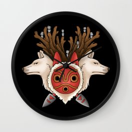 A mask, two wolves and spirits Wall Clock