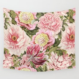 Vintage & Shabby Chic Floral Peony & Lily Flowers Watercolor Pattern Wall Tapestry