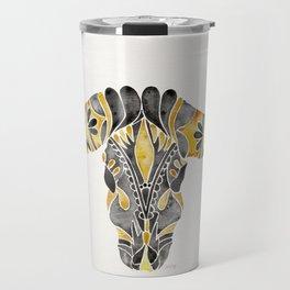 Water Buffalo Skull – Black & Yellow Travel Mug