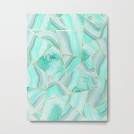 Soft Turquoise Agate Gold Geometric Summer Glam #1 #geo #decor #art #society6 Metal Print