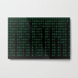 Pattern with binary code on dark background Metal Print