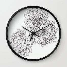 Ink Illustration of Summer Blooms Wall Clock