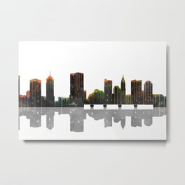 Columbus Skyline BW Metal Print