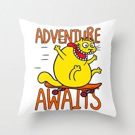 Cat skateboard adventure Throw Pillow