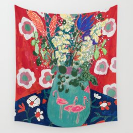 Wild Flowers in Flamingo Vase Floral Painting Wall Tapestry
