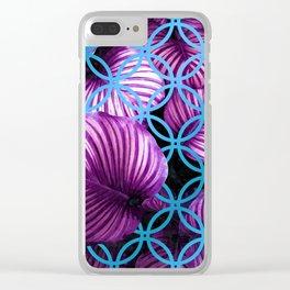 Purple Leaves Blue Geometric Clear iPhone Case
