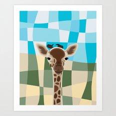 Wild Giraffe Baby on the grassland Art Print