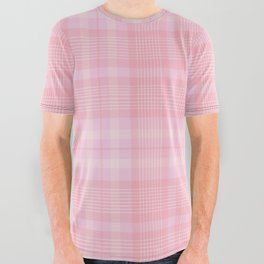 Pink Blush Plaid Pattern All Over Graphic Tee