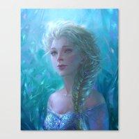 frozen elsa Canvas Prints featuring Frozen Elsa by hart-coco