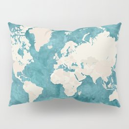 Teal watercolor and light brown world map Pillow Sham