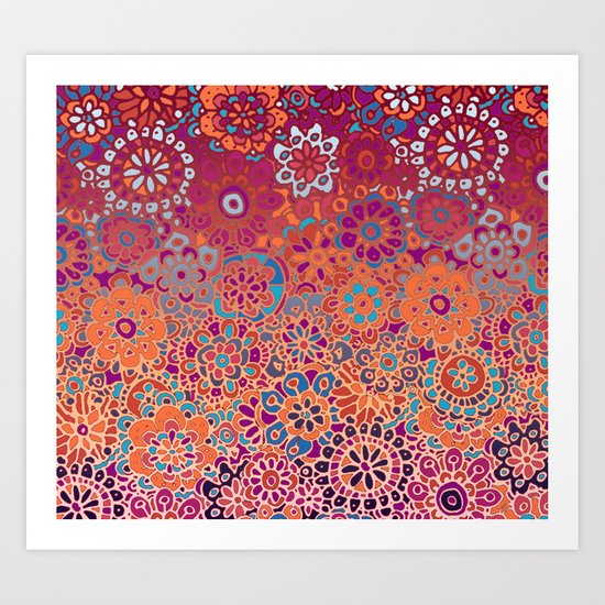 Psychedelic Ombre Flower Doodle Art Print