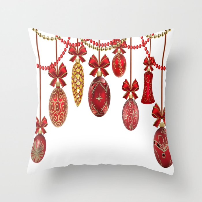 red and gold christmas ornaments throw pillow