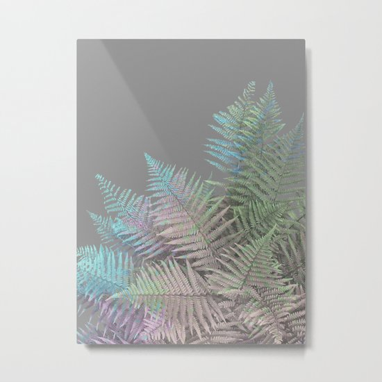Rainbow Fern on Grey #decor #buyart #foliage Metal Print