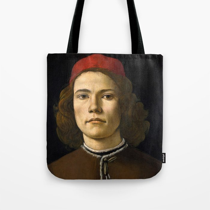 "Sandro Botticelli ""Portrait of a Young Man"" (II) Tote Bag"