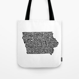 Typographic Iowa Tote Bag