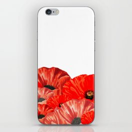 Poppies on White iPhone Skin