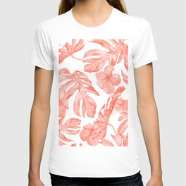 Tropical Hibiscus and Palm Leaves Dark Coral White T-shirt