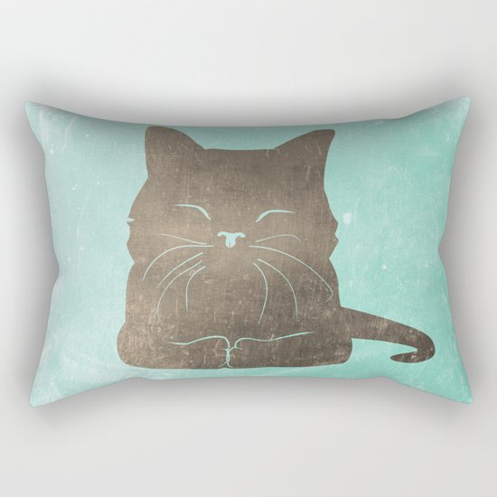 Happy cat illustration in blue and brown Rectangular Pillow