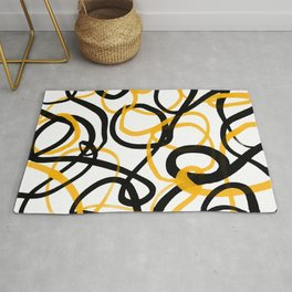 Abstract - Black and Yellow loops Rug