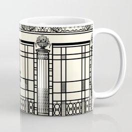 ART DECO, ART NOUVEAU IRONWORK: Black and Cream Coffee Mug