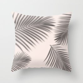 Pastel Pink Shadow Leaves Throw Pillow