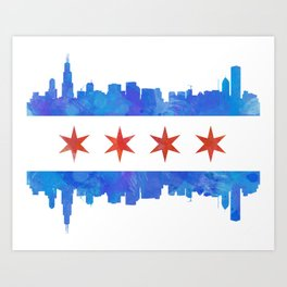 Chicago Flag Skyline Watercolor Art Print