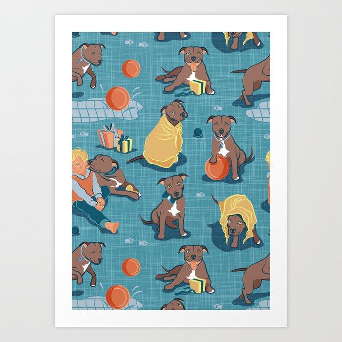 Memories of a Sweet Pit Bull Doggie Friend named Venice // blue linen texture background Kunstdrucke