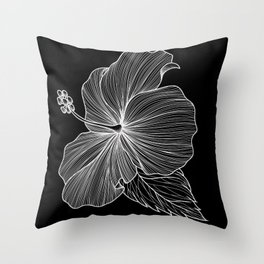 Hibiscus Lineart Black Throw Pillow
