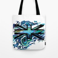 union jack Tote Bags featuring Union Jack by Boz Designs