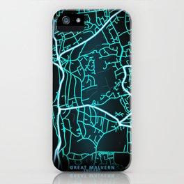 Great Malvern, England, Blue, White, Neon, Glow, City, Map iPhone Case