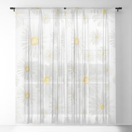 white daisy pattern watercolor Sheer Curtain