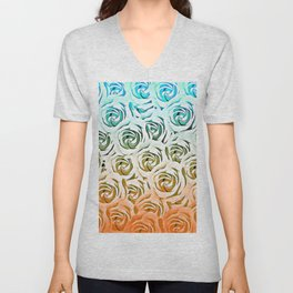 blooming rose pattern texture abstract background in blue and pink Unisex V-Neck