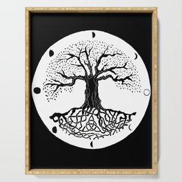 black and white tree of life with moon phases and celtic trinity knot III Serving Tray
