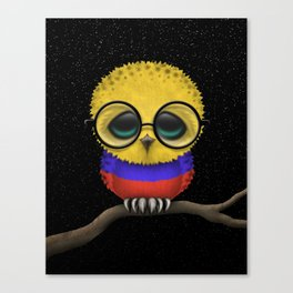 Baby Owl with Glasses and Colombian Flag Canvas Print