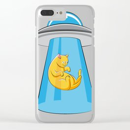 Alien Cat UFO ufology Kitty Flying Saucer Gift Clear iPhone Case